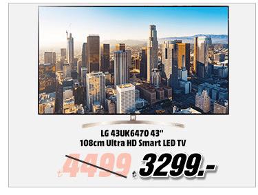 LG 43UK6470 43'' 108cm Ultra HD Smart LED TV 3299TL