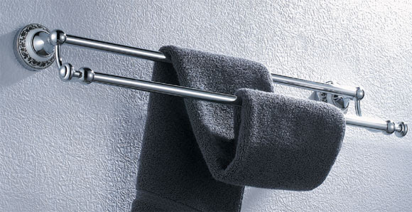 Chrome Double Towel Bar With Ceramic Decor 3348 Bath Towel Holders