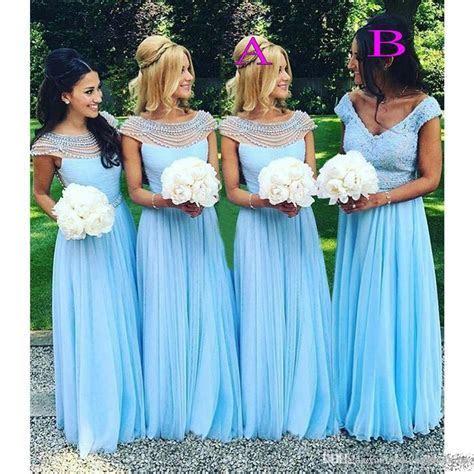 2017 Light Sky Blue Long Bridesmaid Dresses Scoop VNeck