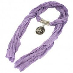 Jewelry Scarf - Very Nice and Elegant Lavender Color Scarf with Owl Pendant and Beaded Tassle