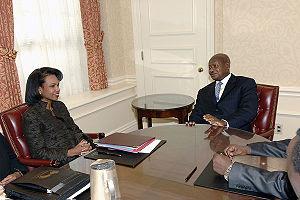 Yoweri Museveni and Condoleezza Rice.