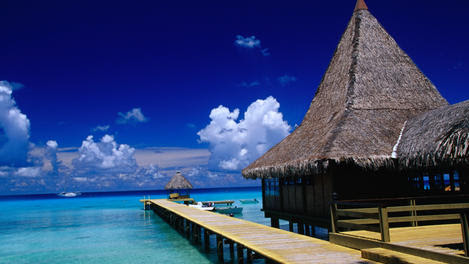 Hotel pontoon and lagoon of Rangiroa atoll.