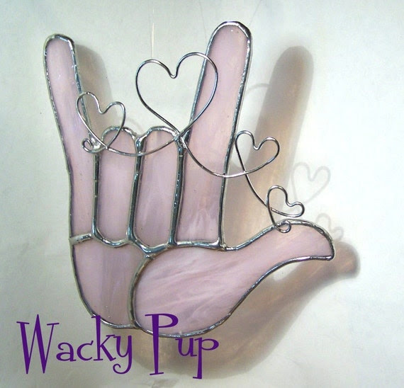 Sweet Soft Pink American Sign Language I Love You Hand Tiffany Stained Glass ASL Hand Heart Gift OOAK Handmade Handcrafted Artisan Crafted