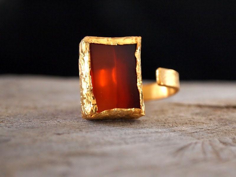 Gold Vermeil Carnelian Ring - Asymmetrical Modern Ring - 24 K. Gold Vermeil - Sterling Silver - Adjustable - Ready to Ship - serpilguneysu