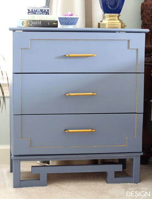 Blue & Brass Nightstand - Paper Daisy Design