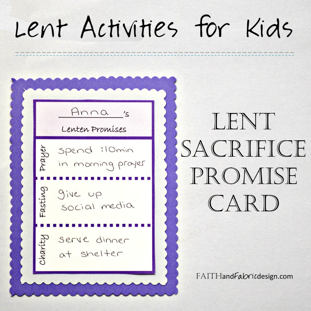 Download ACTIVITY: Lent Promise Card for Families (free printable ...