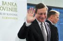 European Central Bank President Draghi waves after a news conference after the Governing Council Meeting of the European Central Bank in Brdo