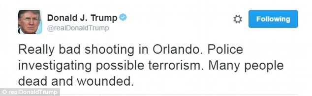 Donald Trump initially just let his readership know about the Orlando shooting and then went back to attacking Hillary Clinton on Twitter