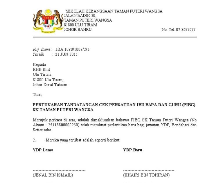 Contoh Surat Rasmi Pembatalan Akaun Rasmi B