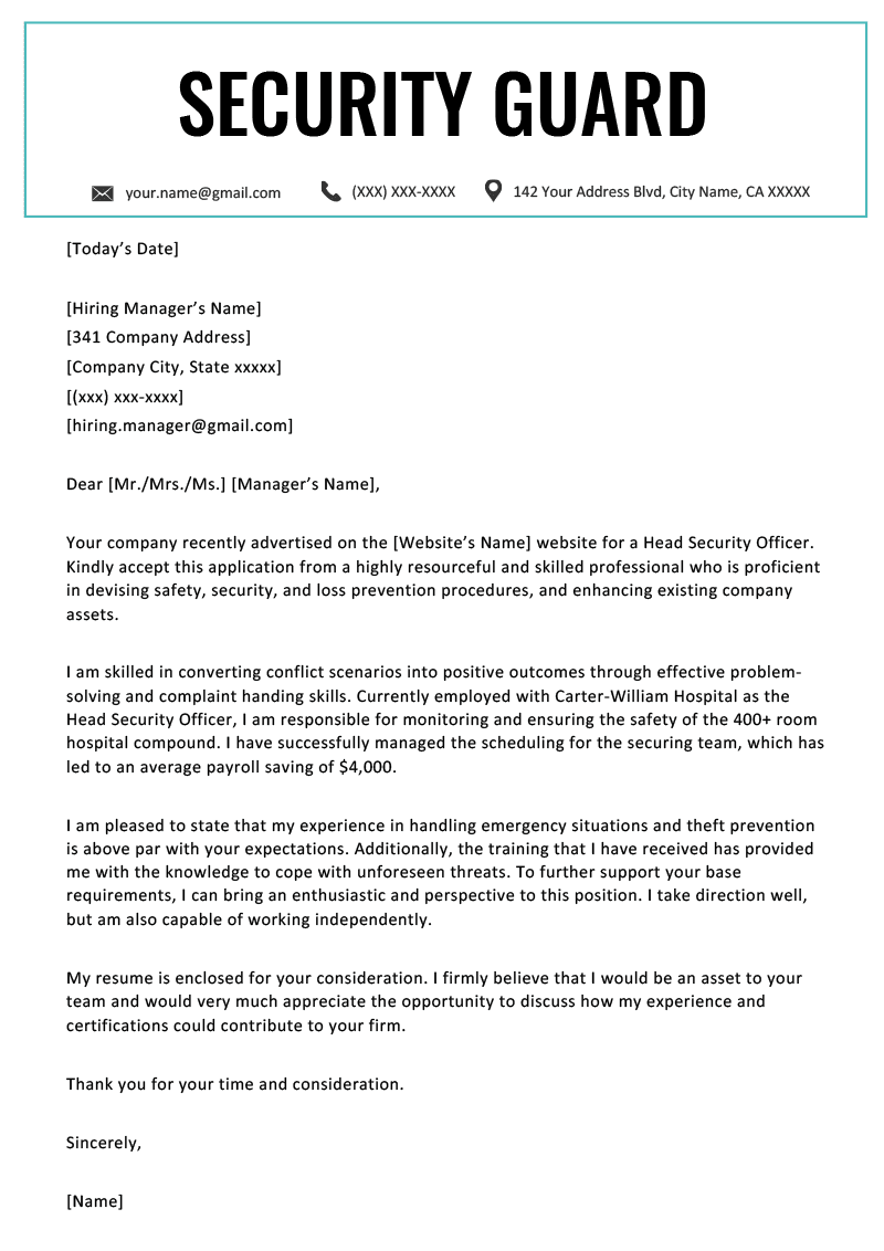 Security Guard Cover Letter Resume Genius