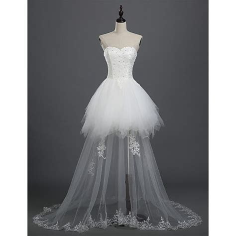 A line Bride Wedding Dress   White Asymmetrical Sweetheart