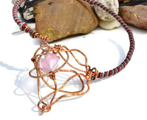 Wire Wrapped Necklace - Copper - Leather - Sterling Silver - Glass