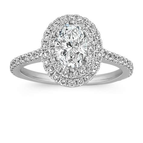 Double Halo Diamond Engagement Ring for 1.00 Carat Oval