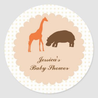 Elegant Safari Animals Baby Shower Favor Sticker