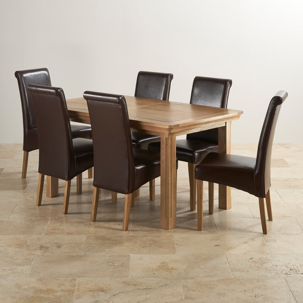 Canterbury Extending Dining Table + 6 Leather Chairs