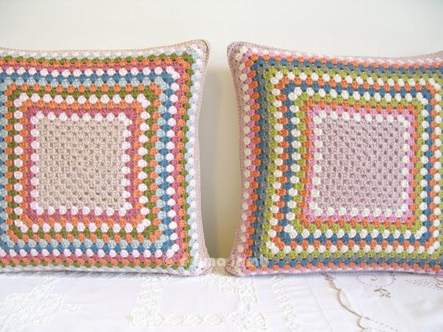 Esme and Doris, hand crochet cushions by Emma Lamb
