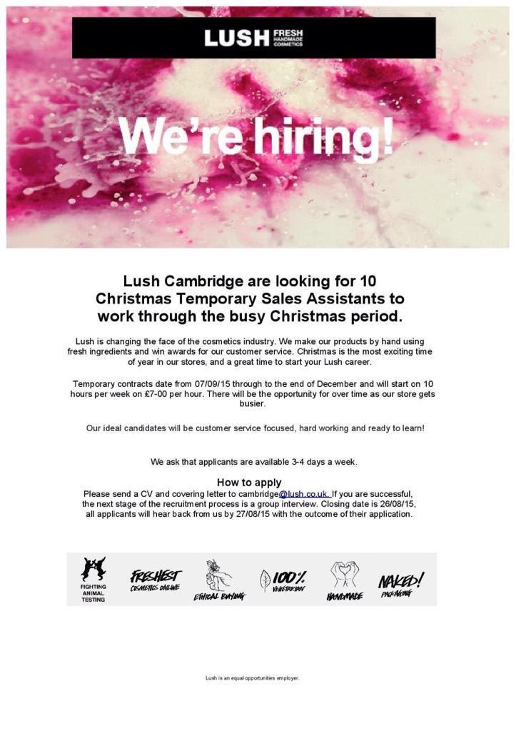 Lush Cambridge On Twitter Lush Cambridge Are Hiring