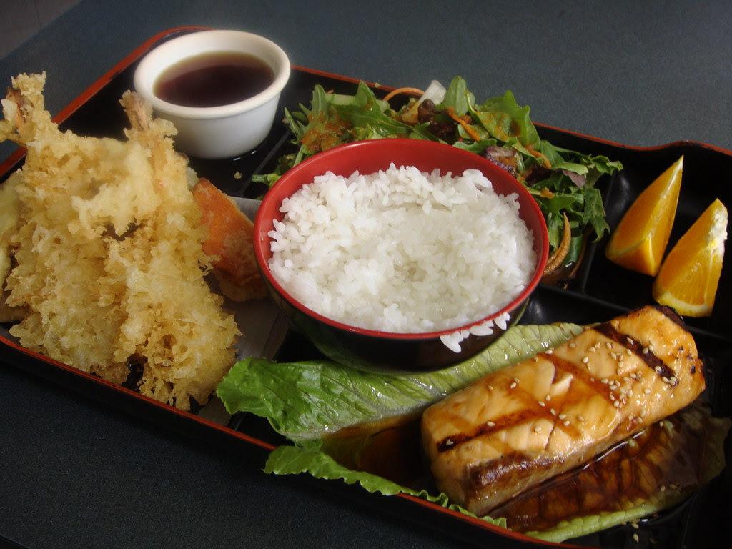 Tempura & Teriyaki Salmon Bento Box