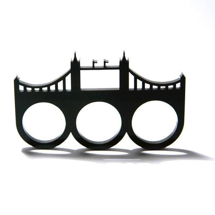 london england tower bridge three finger brass knuckles acrylic ring