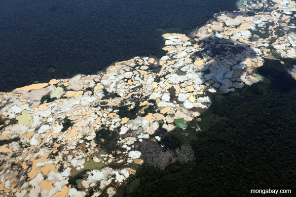 Deforestation caused by gold mining in Peru.