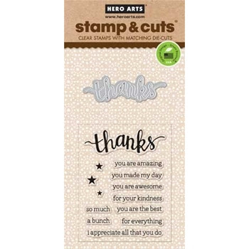 Hero Arts Stamp And Cuts THANKS Coordinating Set DC152