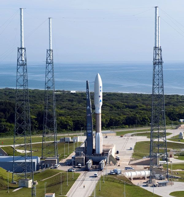 The Atlas V rocket carrying the Juno spacecraft stands poised for launch at Cape Canaveral Air Force Station's Pad 41, on August 4, 2011.