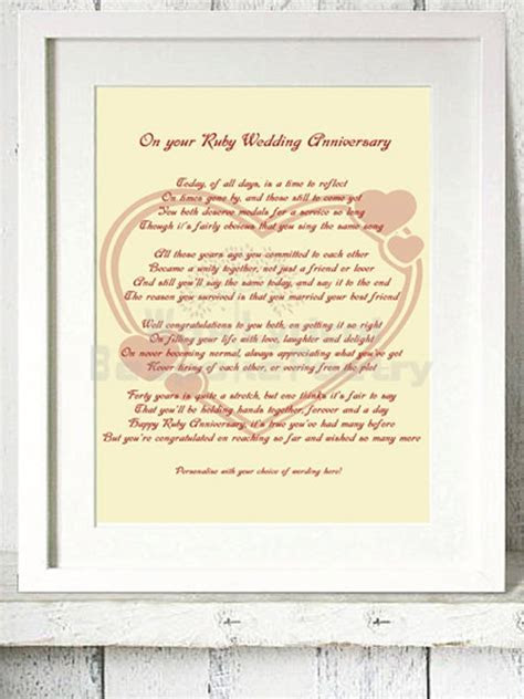 Ruby 40th Wedding Anniversary Personalised by
