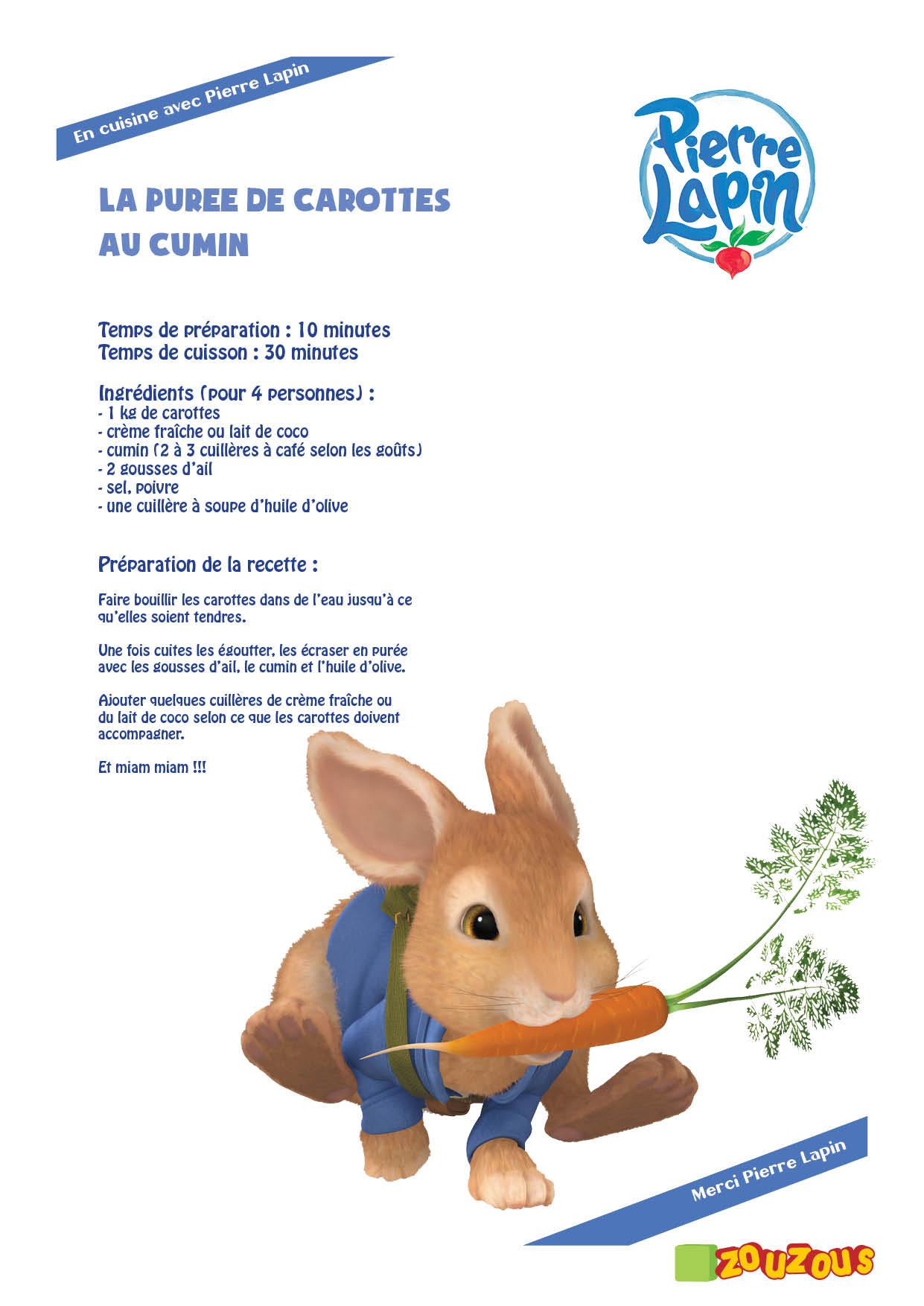 Coloriage Pierre Lapin Recette de purée de carottes Recette de purée de carottes
