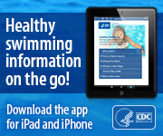 A button image for CDC's Healthy Swimming App for iPad and iPhone. Text reads: 'Healthy swimming information on the go! Download the app for iPad and iPhone'