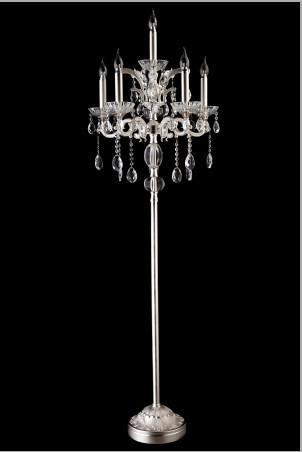 Wholesale Indoor lighting crystal floor lamp satin silver color ...