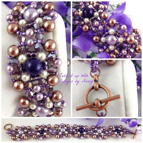 Deep Purple Lavender Copper Swarovski Handmade Beaded Flat Bracelet | jazzitupwithdesignsbynancy - Jewelry on ArtFire