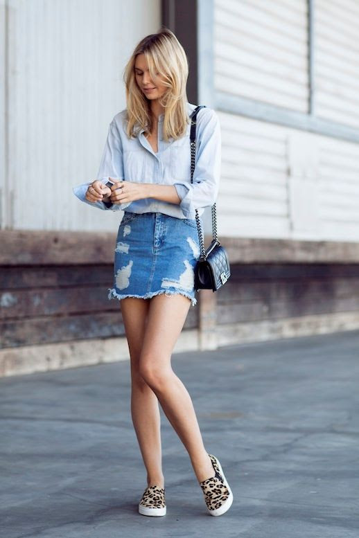 Le Fashion Blog 11 Ways To Wear Denim On Denim Inspiration Light Chambray Shirt Jean Mini Skirt Leopard Sneakers Via Tuula Vintage photo Le-Fashion-Blog-11-Ways-To-Wear-Denim-On-Denim-Inspiration-Light-Chambray-Shirt-Jean-Mini-Skirt-Via-Tuula-Vintage.jpg