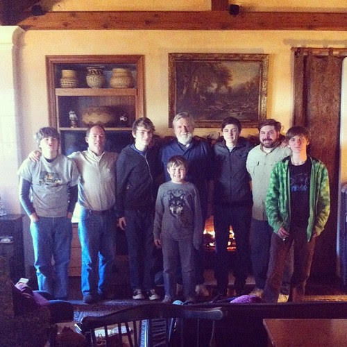 The men folks --- Jim, his dad, his sister's husband, and the five grandsons.
