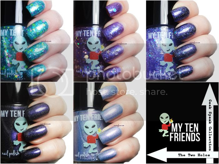xoxoJen's swatch collage of My Ten Friends Geek Speak and Holos