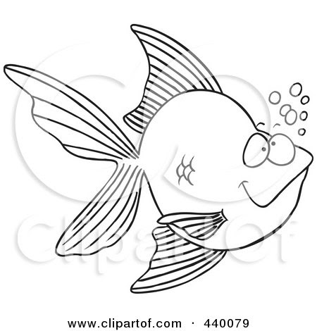 goldfish cartoon image. a Cartoon Black And White