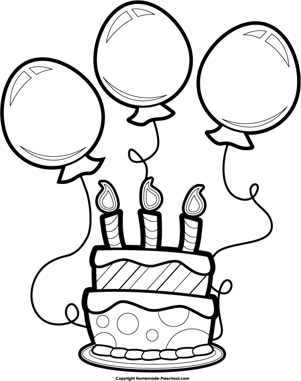 Art Birthday Clip Balloons Cake
