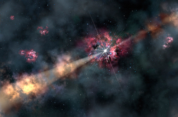 This artist's illustration depicts a gamma-ray burst illuminating clouds of interstellar gas in its host galaxy. By analyzing a recent gamma-ray burst, astronomers were able to learn about the chemistry of a galaxy 12.7 billion light-years from Earth. They discovered it contains only one-tenth of the heavy elements (metals) found in our solar system.  Credit: Gemini Observatory/AURA, artwork by Lynette Cook
