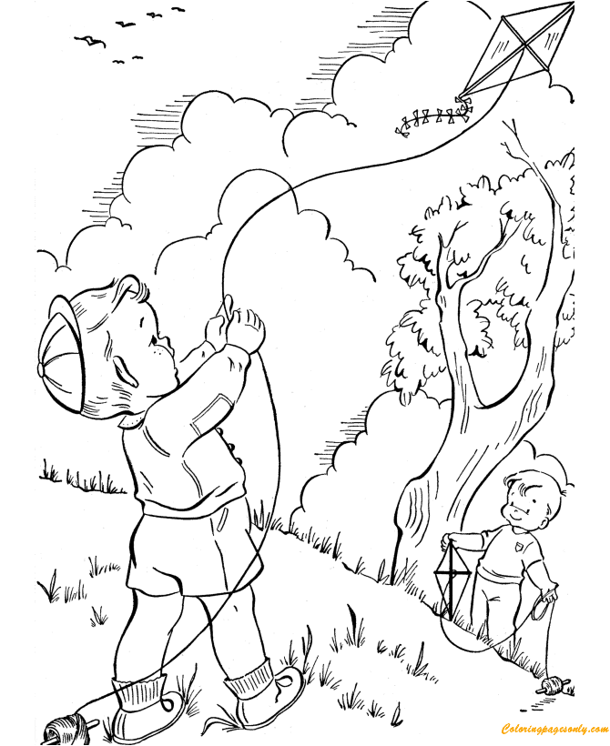 Spring Kite Flying Coloring Page - Free Coloring Pages Online