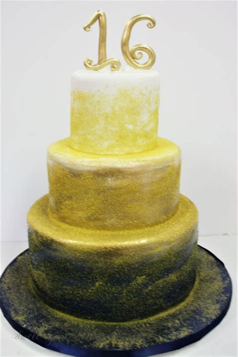 Sweet 16 Cakes NJ   Navy and Gold Ombre Custom Cakes web