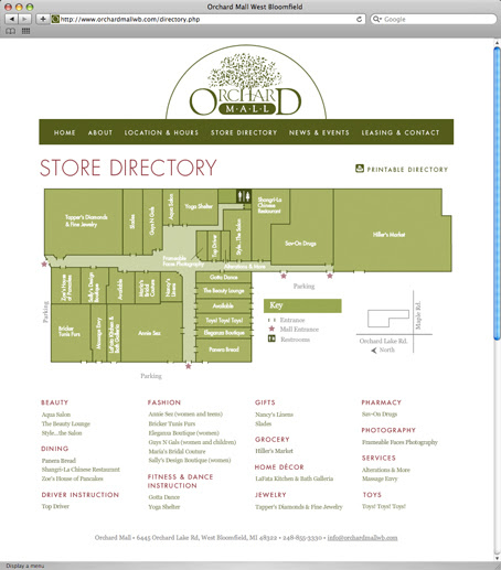 Kitchen 2018: Old Orchard Mall Map