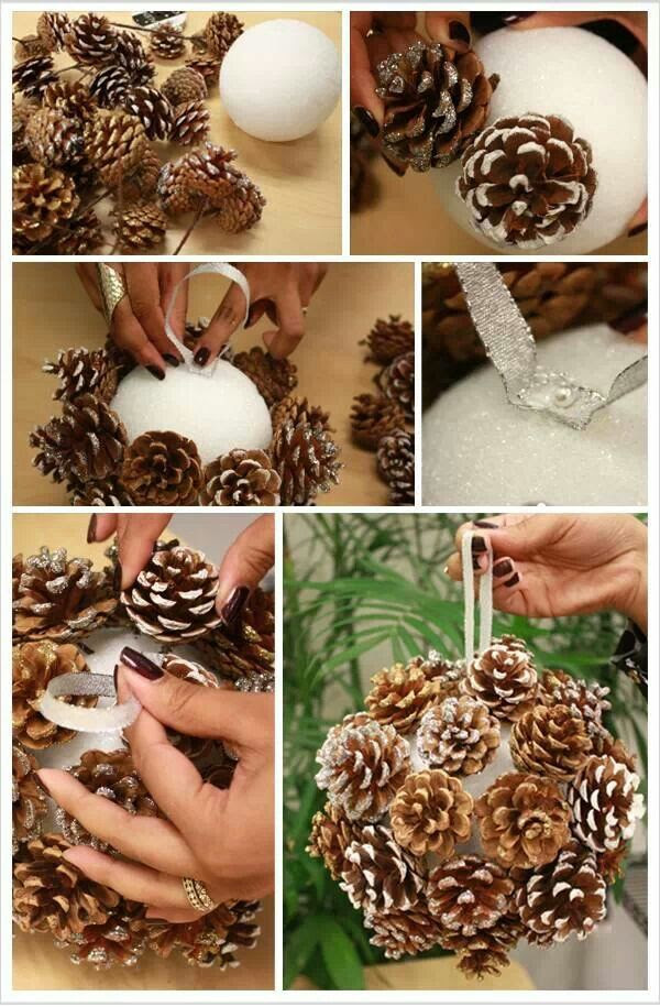 Pine Cones Ball For Christmas decorate  DIY amp; Craft Ideas  Pinterest