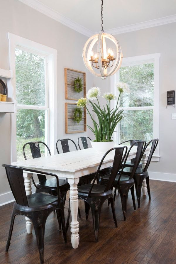 Gaines farmhouse table and chandy
