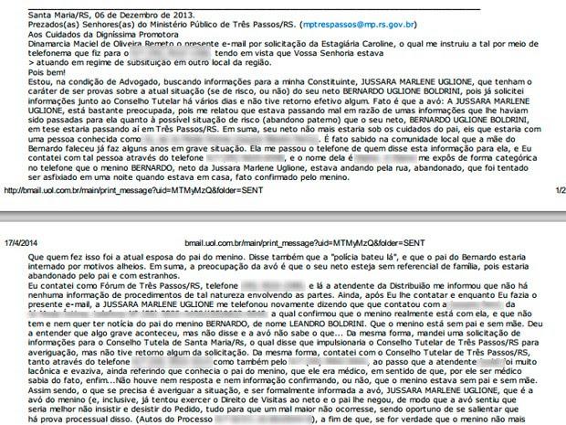 E-mail advogado caso Bernardo RS (Foto: Reprodução/)