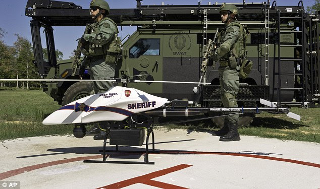 Not so tiny but a good spy: A ShadowHawk drone with SWAT team members