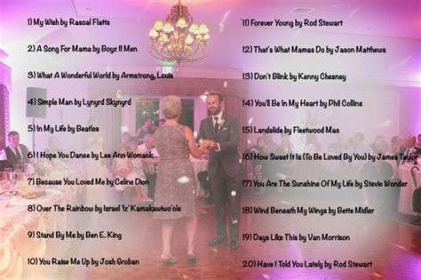 Wedding Music List   Top 20 Mother Son Dance Songs of 2013