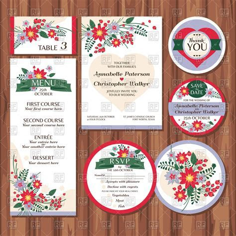 Templates of floral wedding cards and labels Vector Image