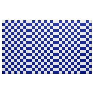Royal Blue and White Checkered Pattern Fabric