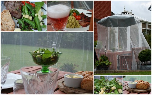 patio supper with wasp / insect net