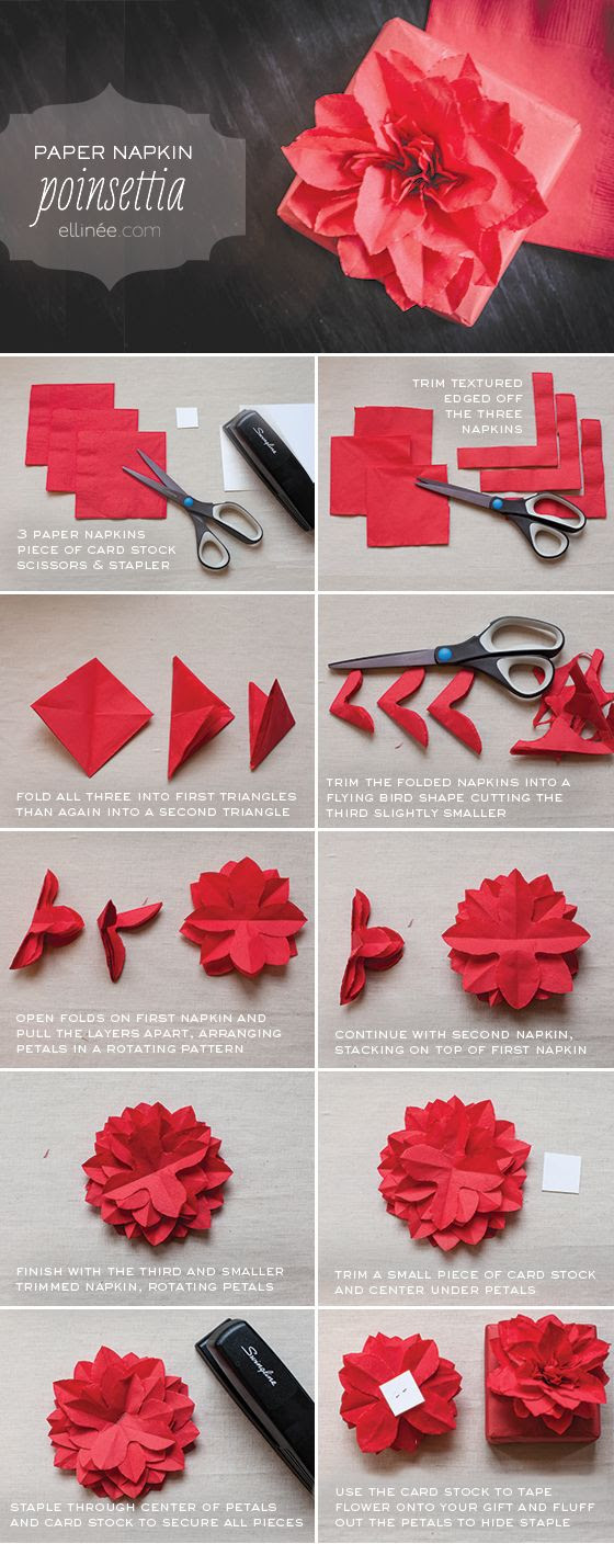 Attach this flower to a gift or gift bag * So easy to follow tutorial * I added green leaves to mine * DIY Paper Napkin Flower - Gift topper