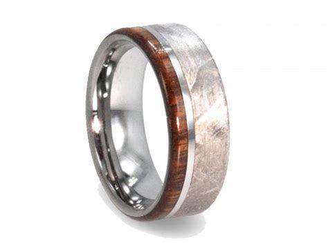 Handmade Meteorite Ring, Mens Wood Ring, Tungsten Wedding